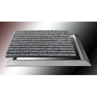 Wycieraczka aluminiowa ryps tekstylny z najazdem aluminiowym