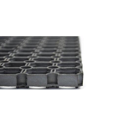 Wycieraczka do butów model Gummy wymiar 50x80 cm czarna ażurowa mata z gumy widok z bliska