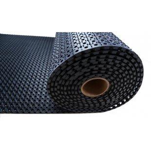 Rubberen mat met honingraatrol 100x750 cm h: 22 mm