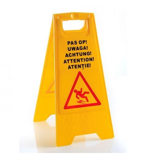 Attention slippery floor surface stand, folding