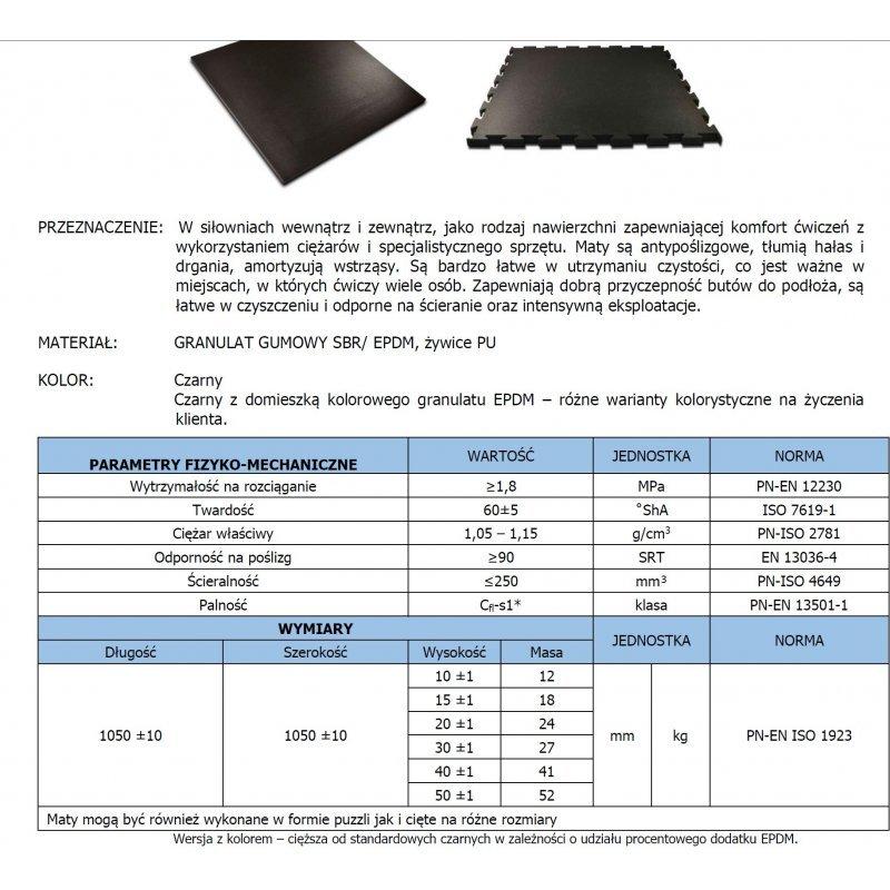 Mata na siłownię fitness Puzzle 100x100 cm czarna karta techniczna produktu