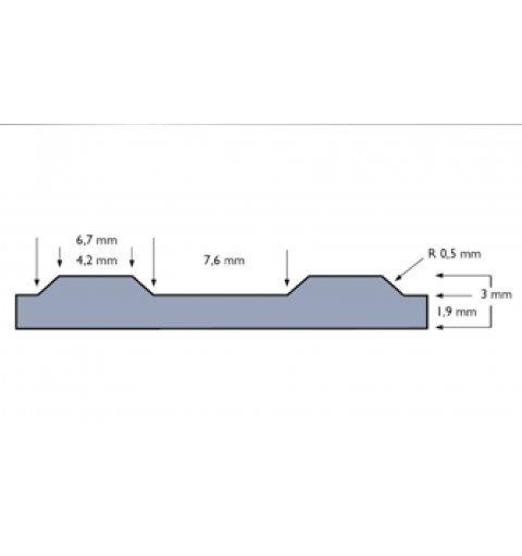 Mata gumowa szeroki ryfel Rib n Roll 3 mm 752R0333BL przekrój boczny wymiary