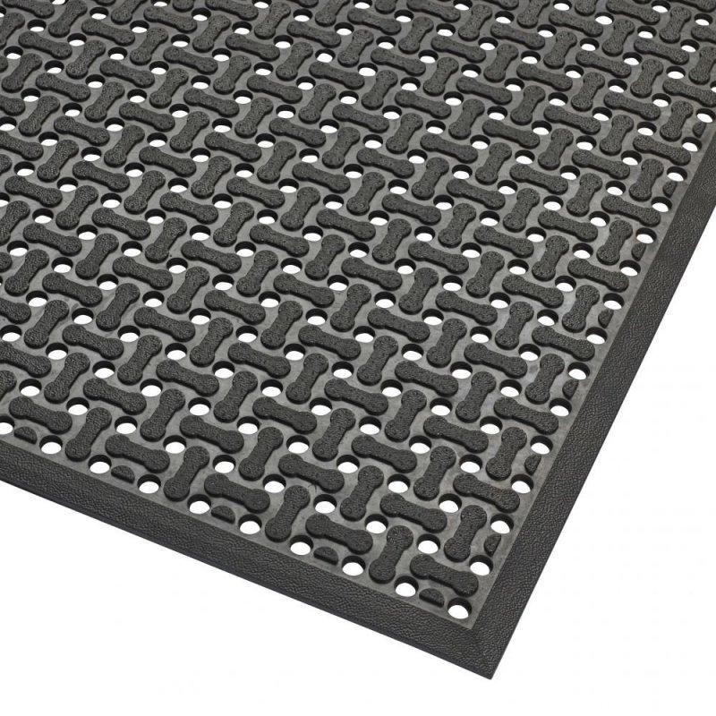 Mata gumowa antypoślizgowa ażurowa do kuchni dla przemysłu Superflow  gastronomiczna czarna 566S0023BL
