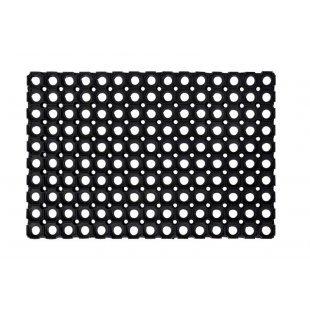 Domino rubber boot doormat, black openwork mat