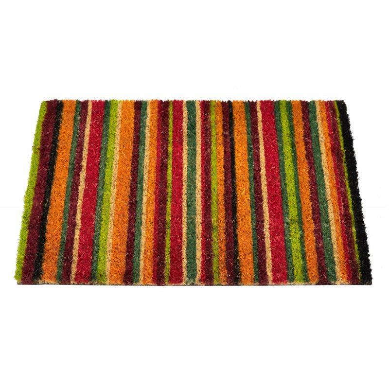 Wycieraczka kokosowa w kolorowe lini tęcza Couleur 5 40×60 cm kolorowe słowiańskie wzory