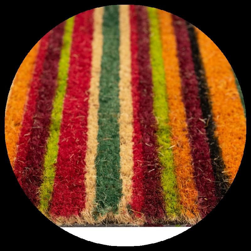 Wycieraczka kokosowa w kolorowe lini tęcza Couleur 5 40×60 cm zdjęcie detalu
