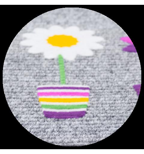 Wycieraczka igłowana Paris1 kwiatki 40x60 cm szara donice doniczki kolorowe  866-100 ean 5902211866107