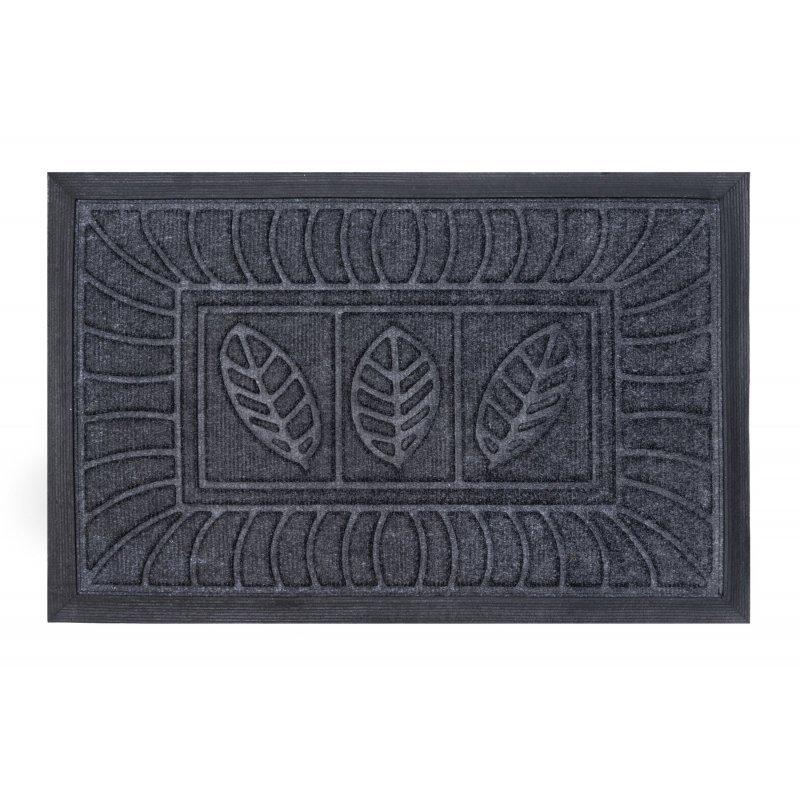 Wycieraczka tekstylna Synthetic szara 40x60 cm w liście wzory podgumowana 710-001 ean 5902211710011