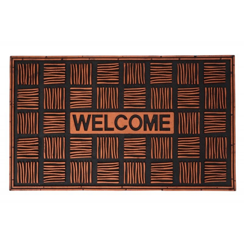 Wycieraczka gumowa welcome Torino 45x75 cm miedziana pomarańczowa ciemna tłoczona 125-001 ean 5902211125006