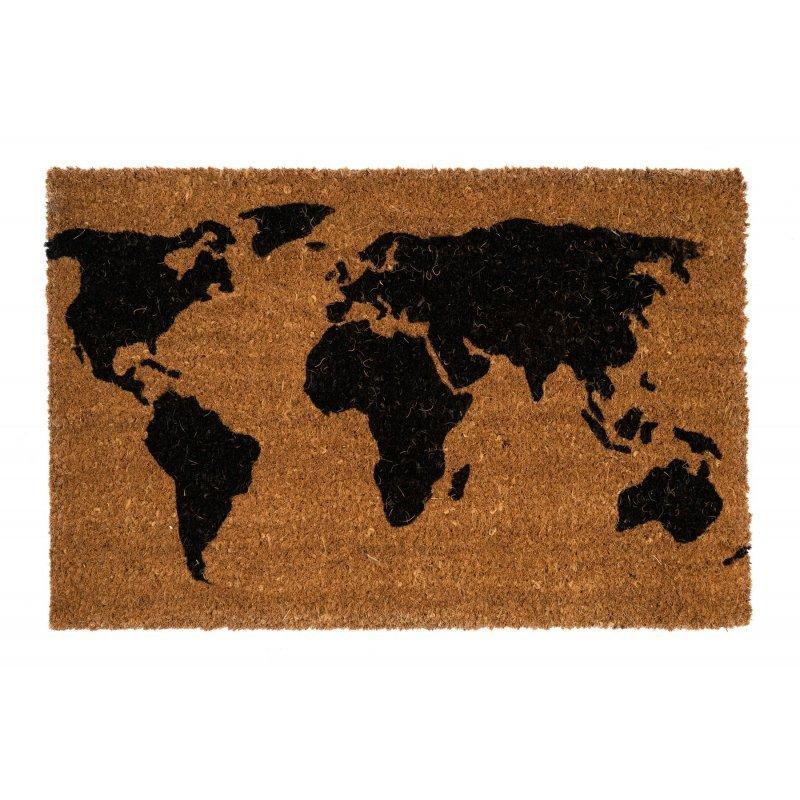 Wycieraczka kokosowa naturalna Mapa świata czarna Couleur Natural 40x60 cm kolor wycieraczki brązowy 895-001 ean 5902211895015