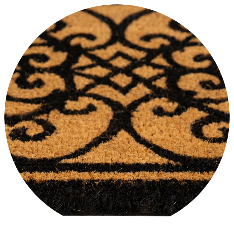 Wycieraczka do butów brązowa czarne wzory kokosowa Couleur Natural 40x60cm  895-012 ean 5902211895121