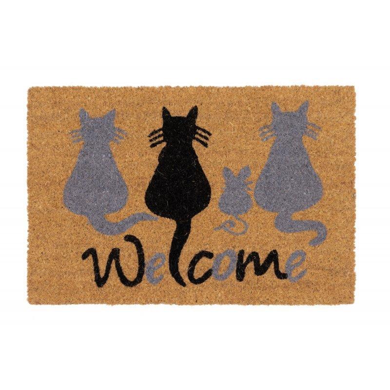 Wycieraczka kokosowa kotki welcome Couleur Natural 40x60 cm naturalna brąz 895-008 ean 5902211895084