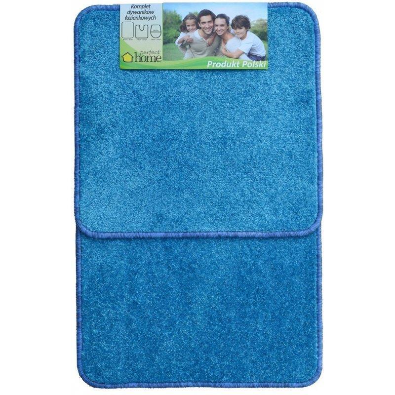 Komplet dywaników łazienkowych 2 częściowy prosty kolor niebieski