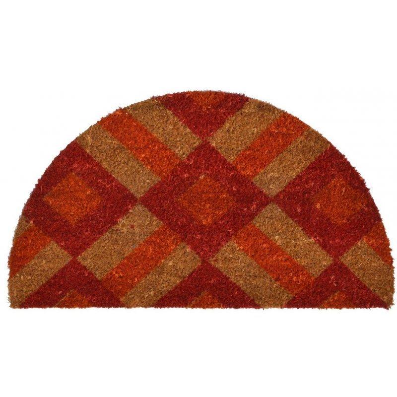 Wycieraczka do butów Halfmoon półksiężyc 33X60 cm kokosowa wzór kwadraty czerwono brązowe