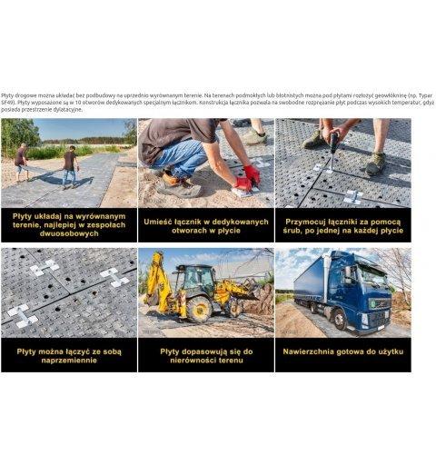 Płyta Drogowa 120x180 cm h 2 cm czarna mata drogowa 45 ton montaż płyty drogowej płyt mat drogowych