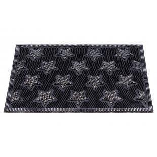 Entree rubberen deurmat Duocolor zilveren sterren 40x60 cm