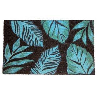 Wycieraczka kokosowa 45x75 cm niebieskie listki
